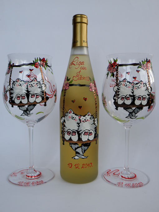 Hand painted glasses and cup Cats Swing