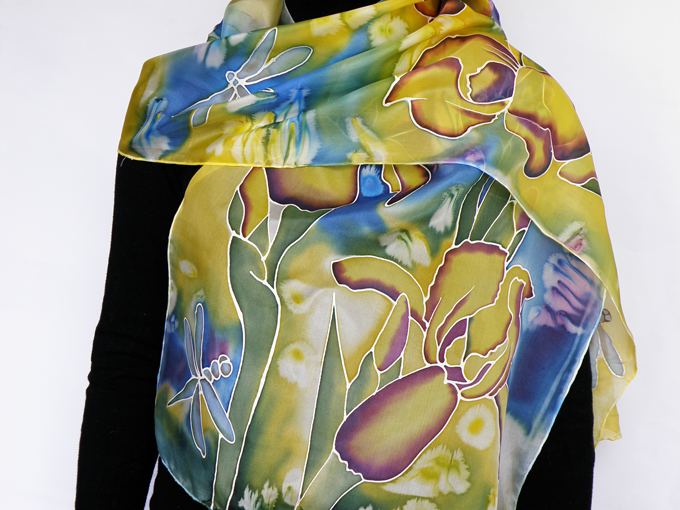 Hand painted silk scarf Iris and dragonflies